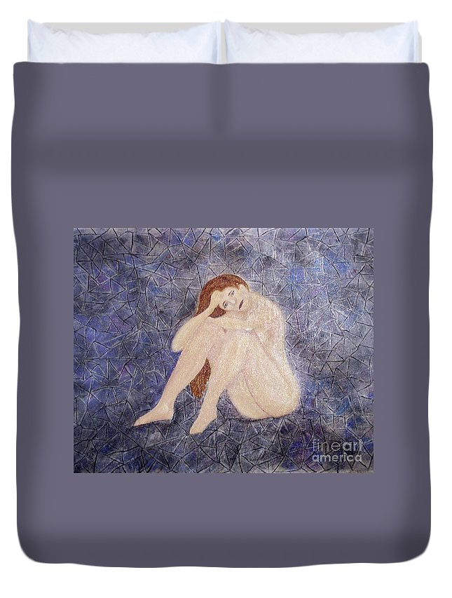 Depression Duvet Cover featuring the painting Pieces Of Me by Desiree Paquette