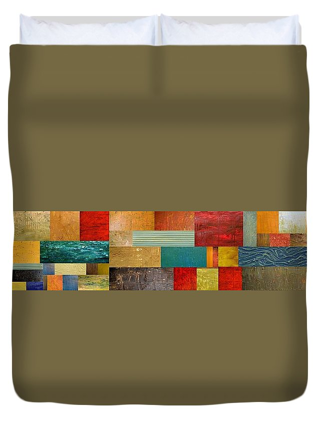 Skinny Duvet Cover featuring the painting Pieces Project V by Michelle Calkins
