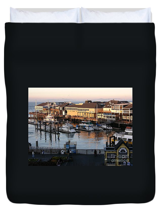 San Francisco Duvet Cover featuring the photograph Pier 39 In The Sunshine by Carol Groenen