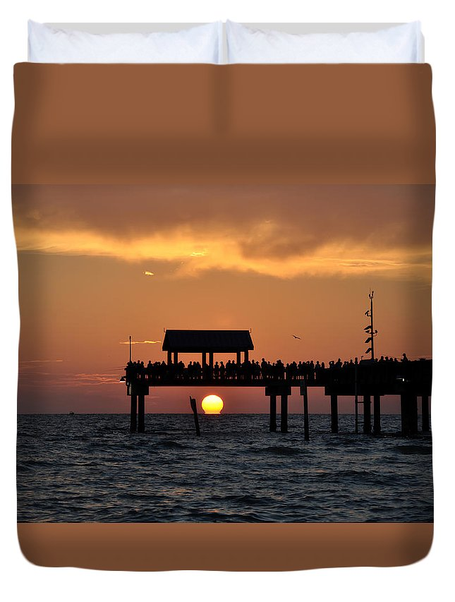 Pier 60 Clearwater Beach - Watching The Sunset Duvet Cover featuring the photograph Pier 60 Clearwater Beach - Watching The Sunset by Bill Cannon