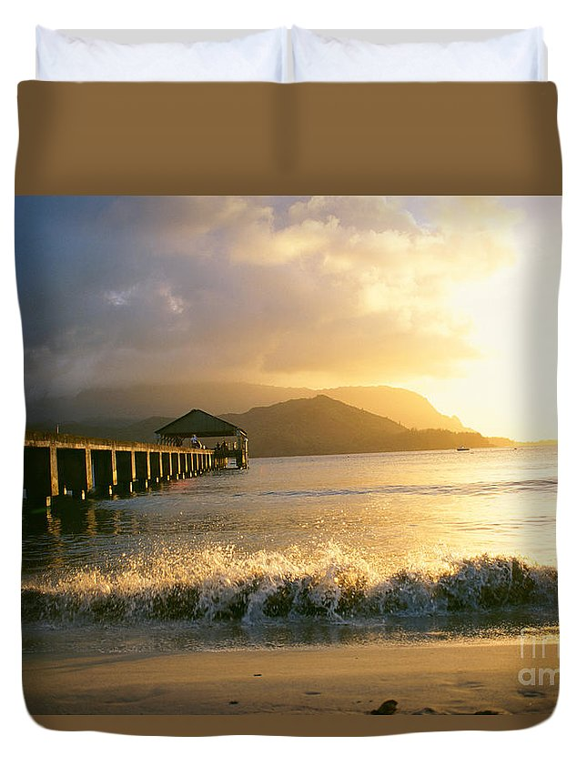 Afternoon Duvet Cover featuring the photograph Pier At Sunset by Peter French - Printscapes