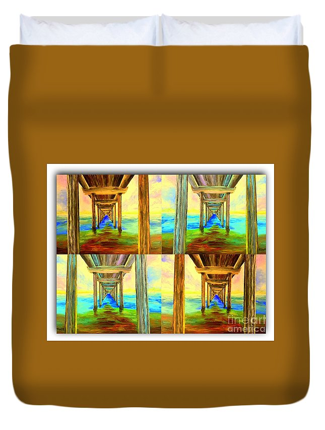 Pier Duvet Cover featuring the painting Pier Collage by Irving Starr