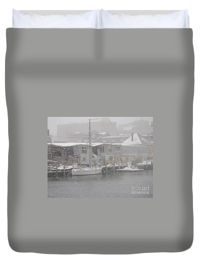 Sail Duvet Cover featuring the photograph Pier In Disrepair by Faith Harron Boudreau
