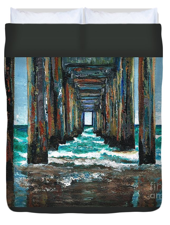 Ocean Duvet Cover featuring the painting Pier One by Frances Marino