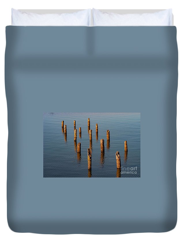 Reelfoot Lake State Park Duvet Cover featuring the photograph Pier Posts by Bob Phillips