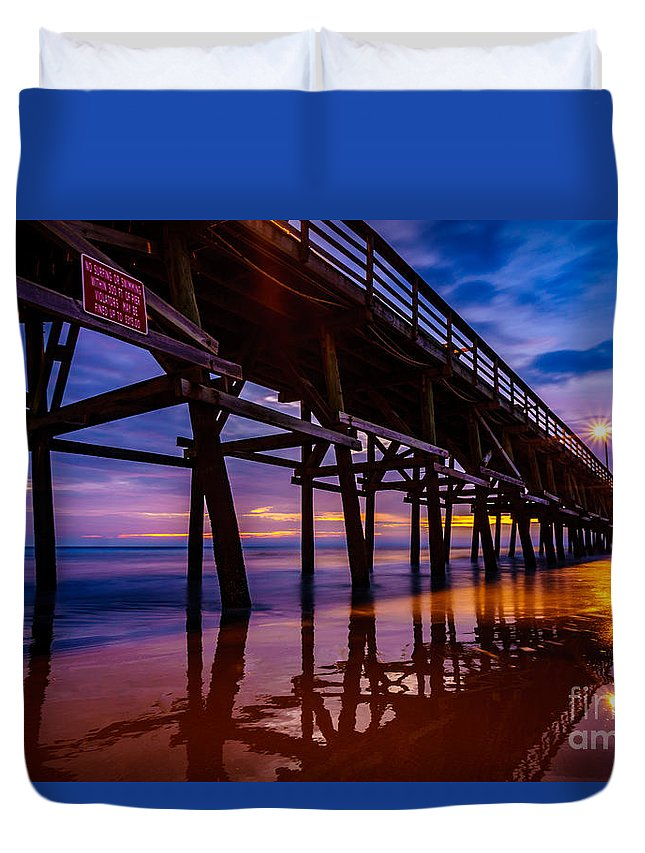 Pier Duvet Cover featuring the photograph Pier Sunrise by David Smith