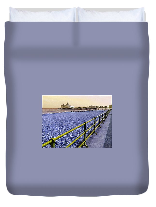 Pier Duvet Cover featuring the photograph Pier View England by Heather Lennox