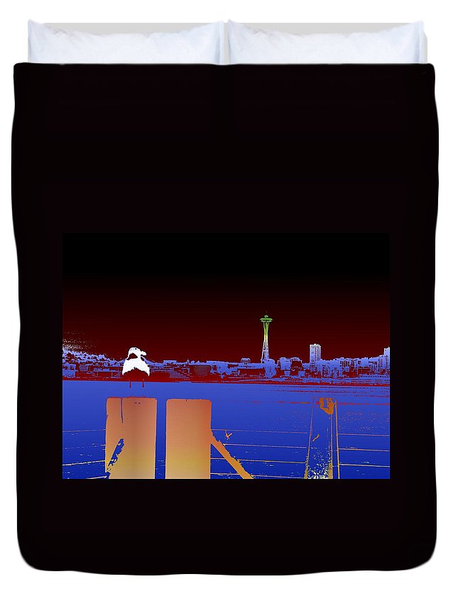 Seattle Duvet Cover featuring the digital art Pier With A View by Tim Allen