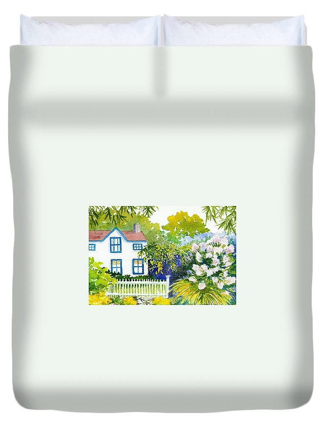 Piermont Duvet Cover featuring the painting Piermont by Anne Marie Brown