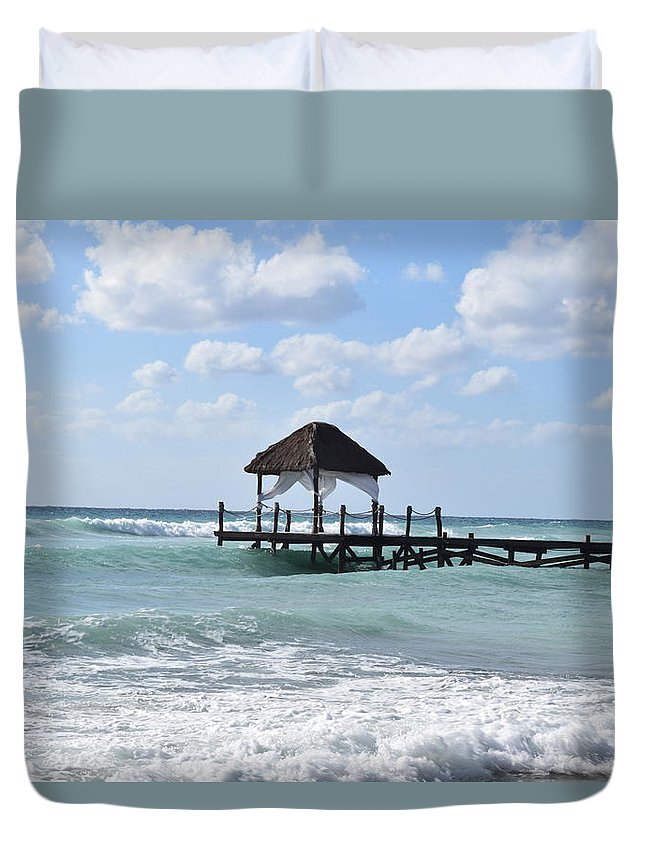Beach Duvet Cover featuring the photograph Piers By The Ocean by Christina McNee-Geiger