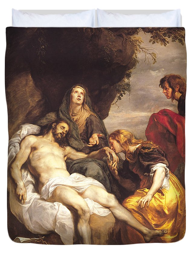 Pieta Duvet Cover featuring the painting Pieta by Sir Anthony van Dyck