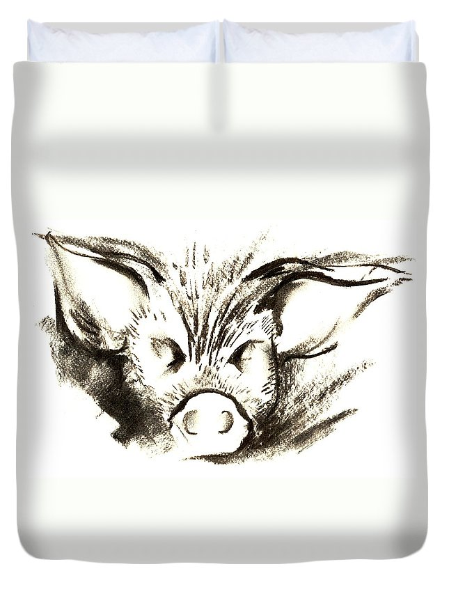 Animal Welfare Duvet Cover featuring the drawing Pig Headed by Mark Cawood