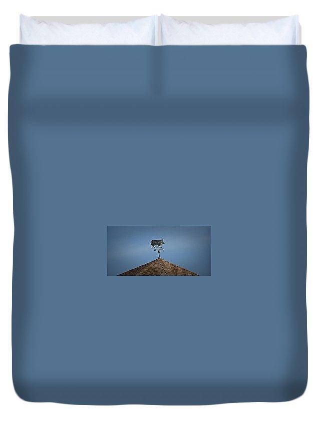 Pig Duvet Cover featuring the photograph Pig Weathervane Ocean Isle North Carolina by Teresa Mucha