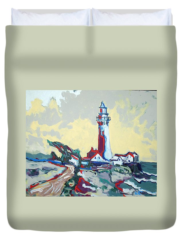 Ligthouse Duvet Cover featuring the painting Pigeon Point by Kurt Hausmann