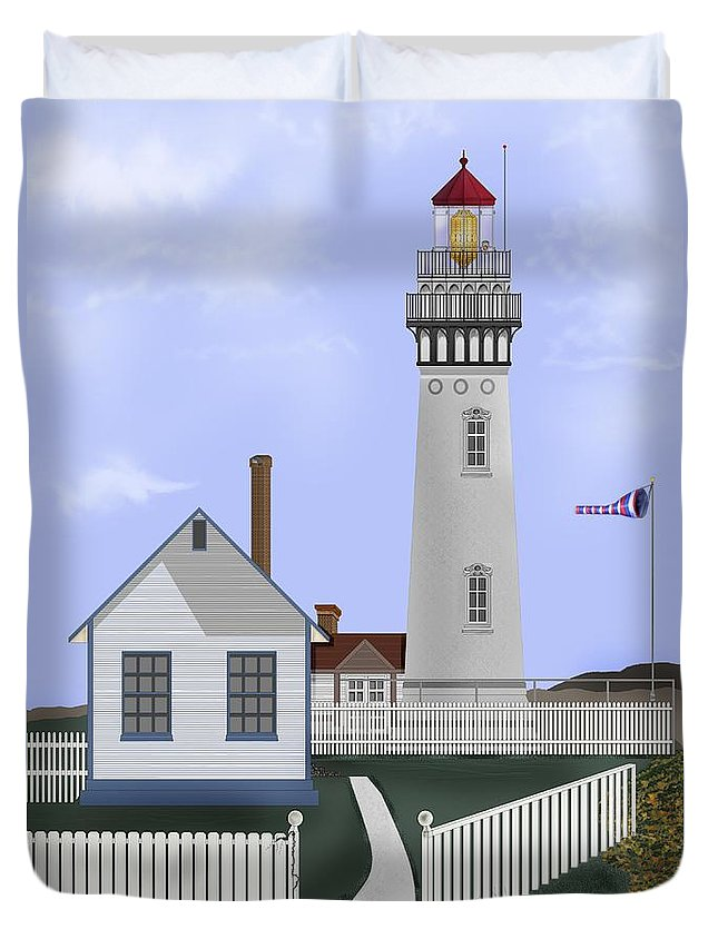 Lighthouse Duvet Cover featuring the painting Pigeon Point Lighthouse California by Anne Norskog