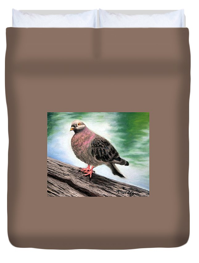 Pigeon Duvet Cover featuring the painting Pigeon Toes by Minaz Jantz