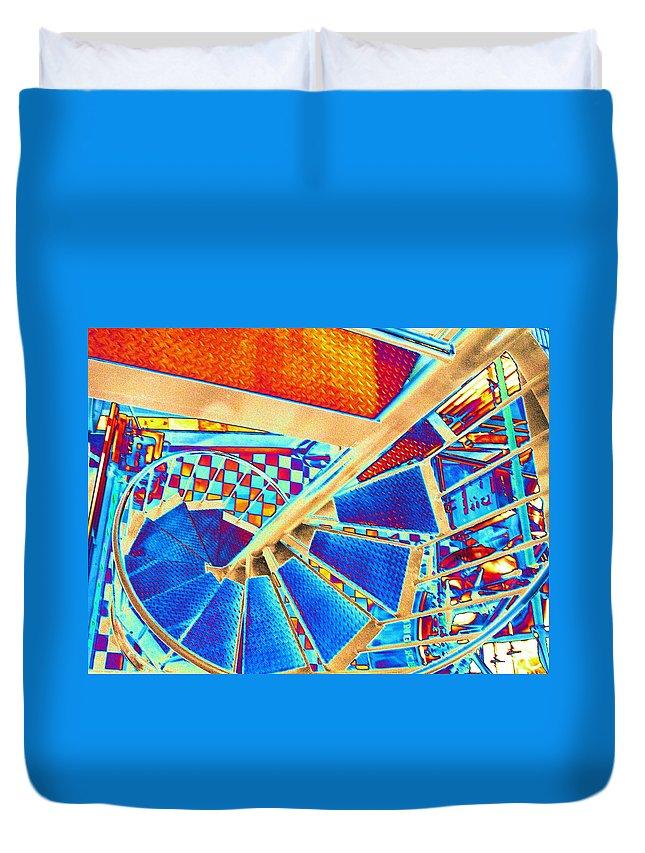 Seattle Duvet Cover featuring the digital art Pike Brewpub Stair by Tim Allen