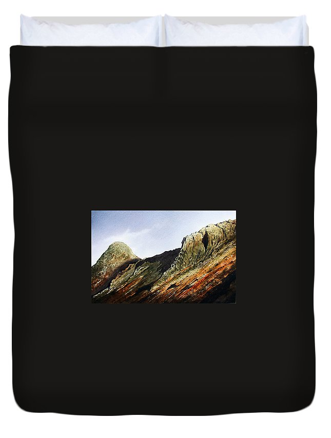 Mountain Duvet Cover featuring the painting Pike O' Stickle And Loft Crag by Paul Dene Marlor