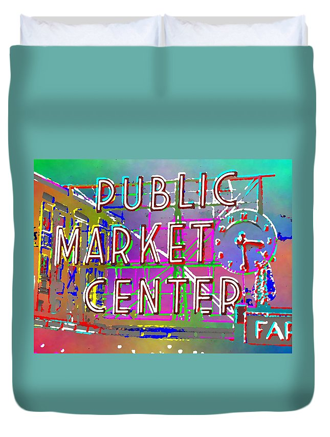 Duvet Cover featuring the digital art Pike Place Market 3 by Tim Allen