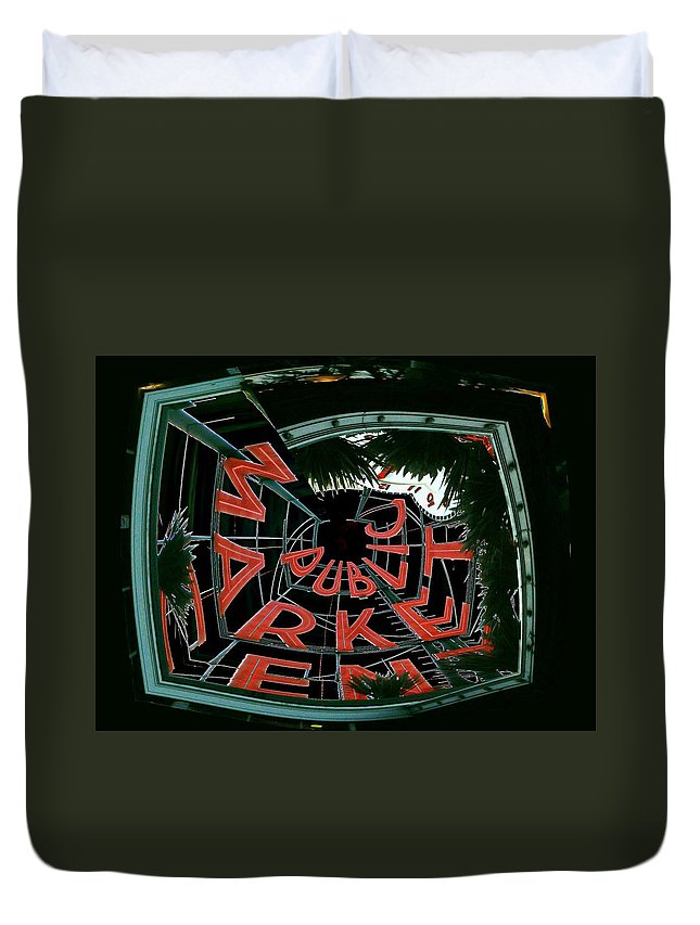 Seattle Duvet Cover featuring the digital art Pike Place Market Entrance 2 by Tim Allen
