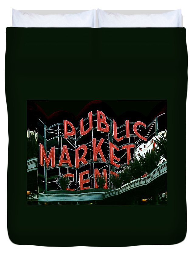 Seattle Duvet Cover featuring the digital art Pike Place Market Entrance 5 by Tim Allen