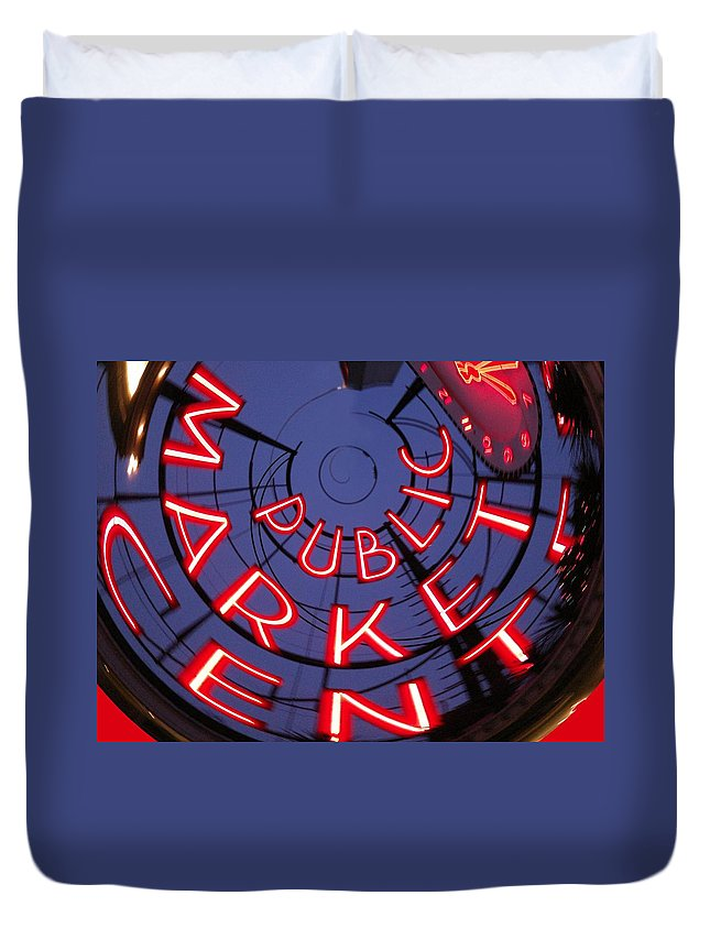 Seattle Duvet Cover featuring the photograph Pike Place Market Entrance by Tim Allen