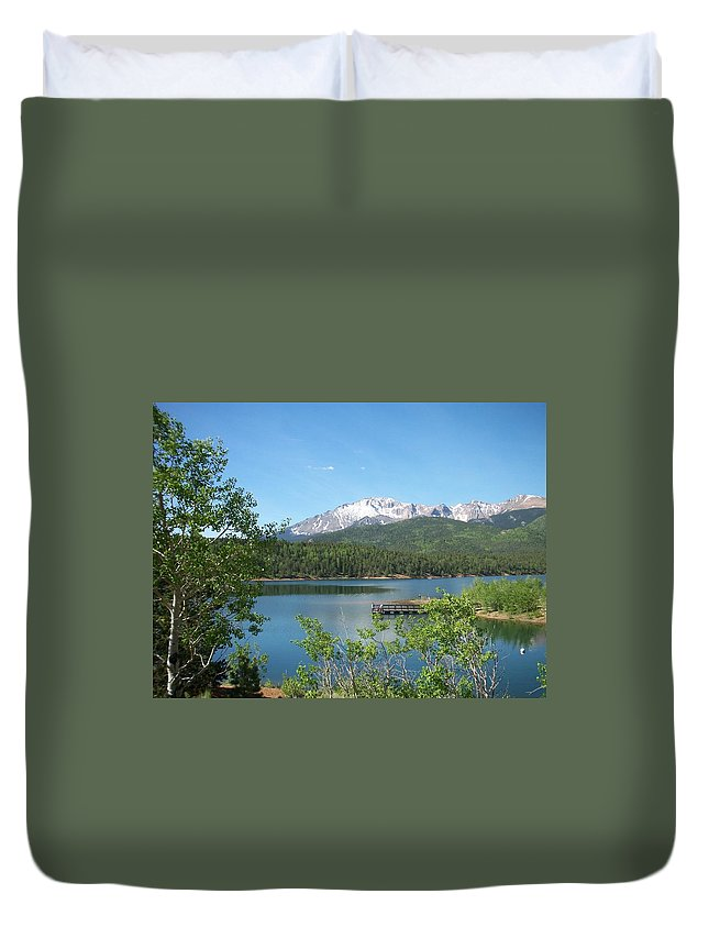 Colorado Duvet Cover featuring the photograph Pike's Peak by Anita Burgermeister