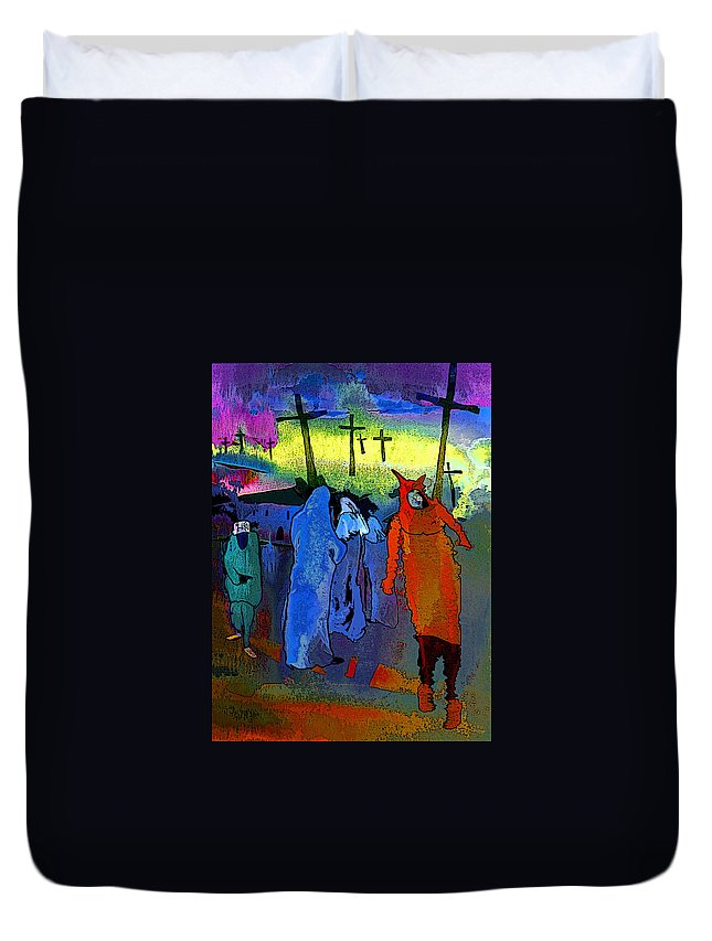 Pilgrimage Duvet Cover featuring the painting Pilgrimage by Miki De Goodaboom