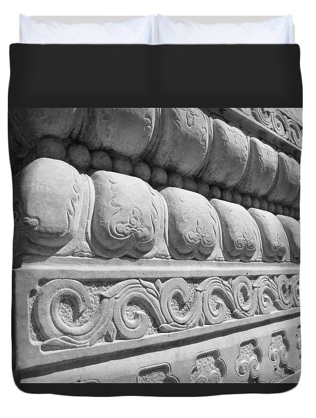 Shapes Duvet Cover featuring the photograph Pillar Theme by Iryna Goodall