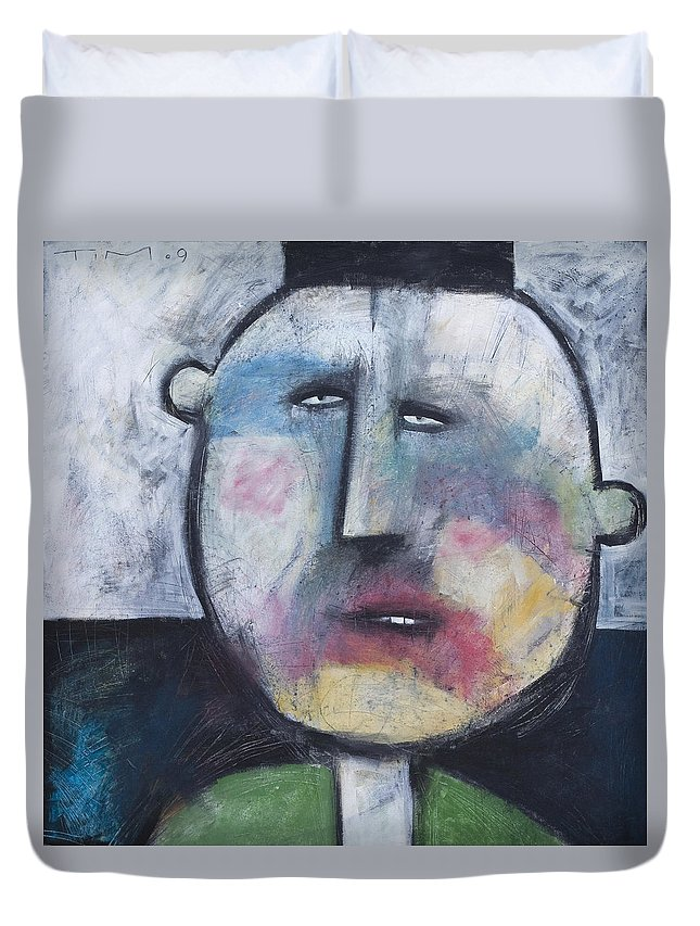 Funny Duvet Cover featuring the painting Pillbox by Tim Nyberg