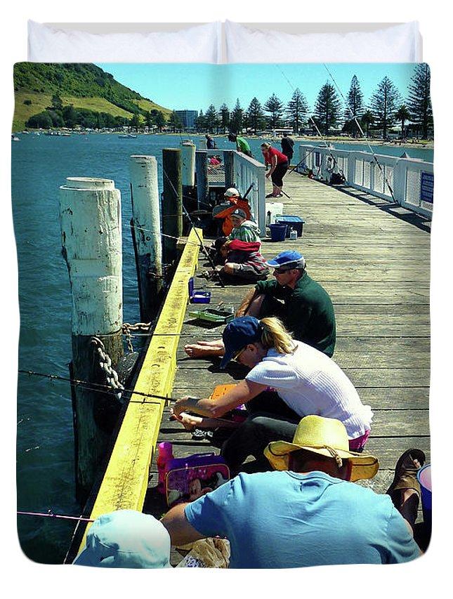 Pilot Bay Duvet Cover featuring the photograph Pilot Bay Beach 6 - Mount Maunganui Tauranga New Zealand by Selena Boron