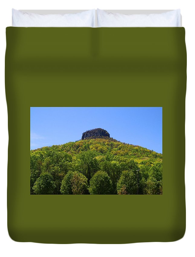 Pilot Mountain Duvet Cover featuring the photograph Pilot Mountain In Spring Green by Kathryn Meyer