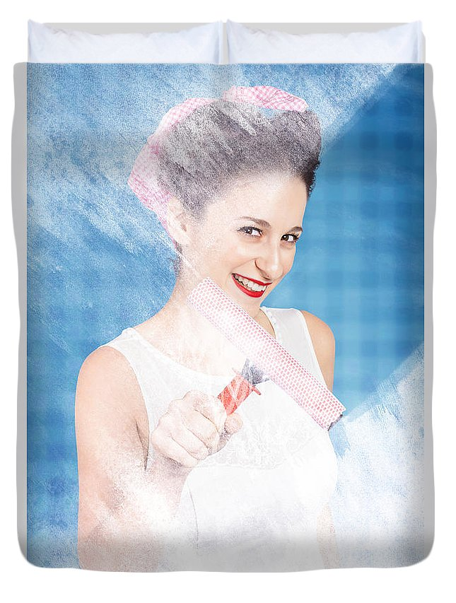 Glass Duvet Cover featuring the photograph Pin Up Cleaning Lady Washing Glass Shower Door by Jorgo Photography - Wall Art Gallery