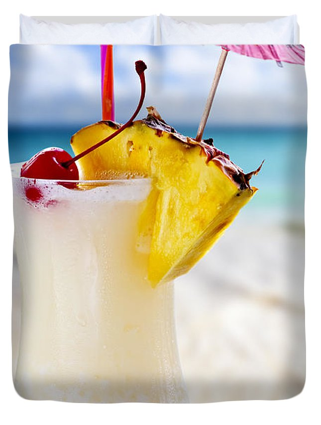 Pina Colada Duvet Cover featuring the photograph Pina Colada Cocktail On The Beach by Elena Elisseeva