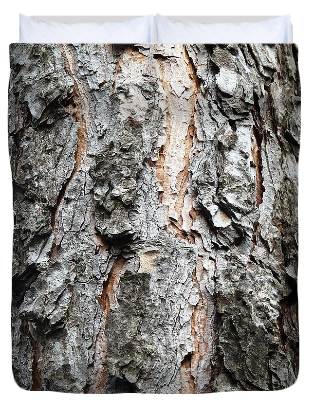 Pine Duvet Cover featuring the photograph Pine Bark by Valerie Ornstein