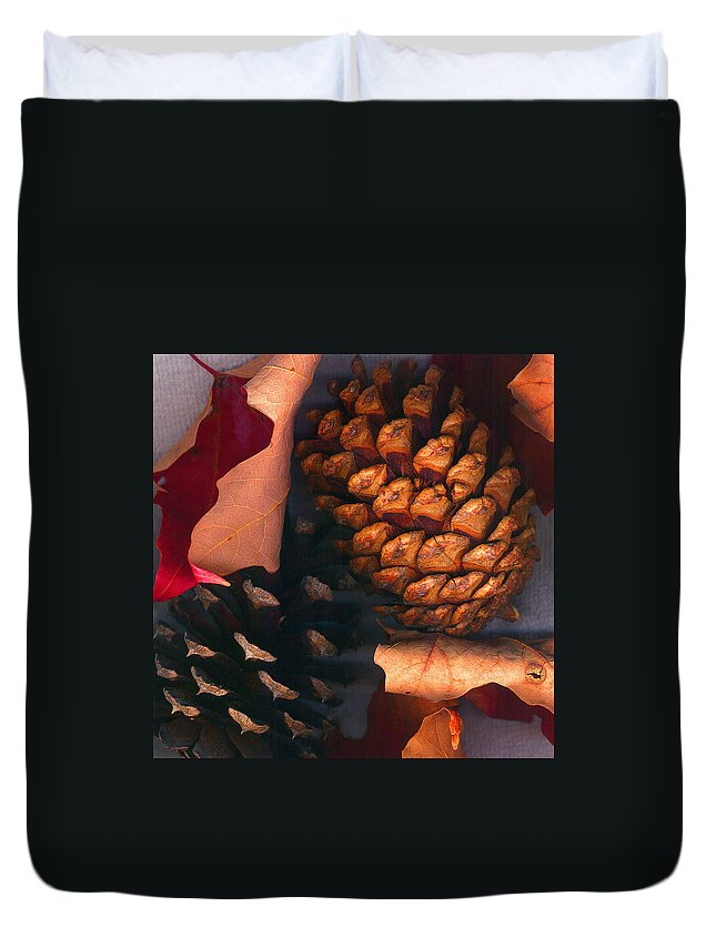 Pine Cones Duvet Cover featuring the photograph Pine Cones And Leaves by Nancy Mueller