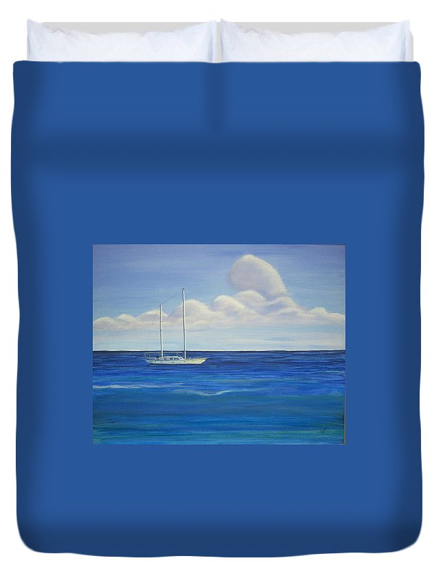 Sailboat Duvet Cover featuring the painting Pine Island Sailboat by Nancy Nuce
