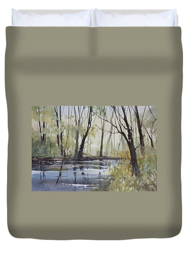 Ryan Radke Duvet Cover featuring the painting Pine River Reflections by Ryan Radke