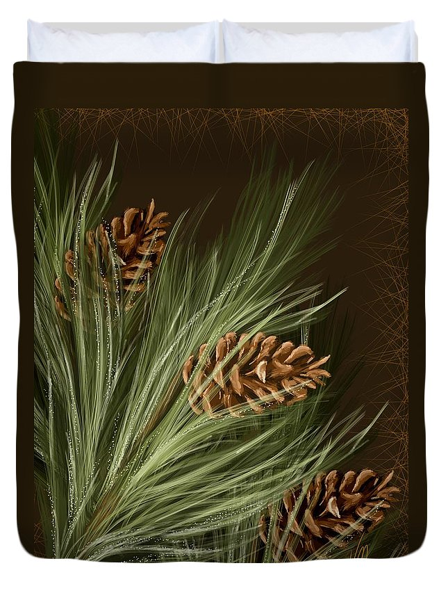 Pine Duvet Cover featuring the painting Pine by Veronica Minozzi