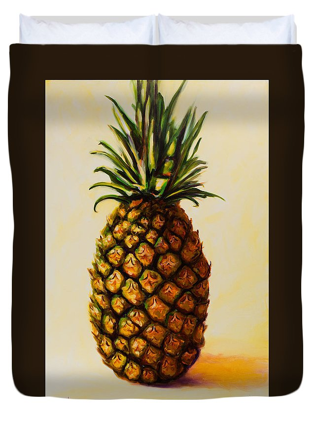 Pineapple Duvet Cover featuring the painting Pineapple Angel by Shannon Grissom
