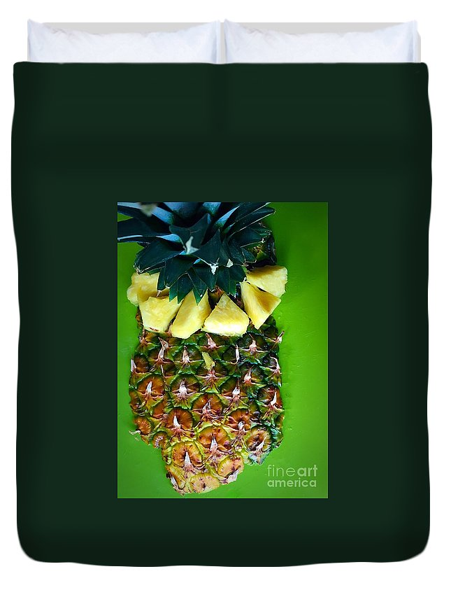 Fruit Duvet Cover featuring the photograph Pineapple Art by Bri Lou