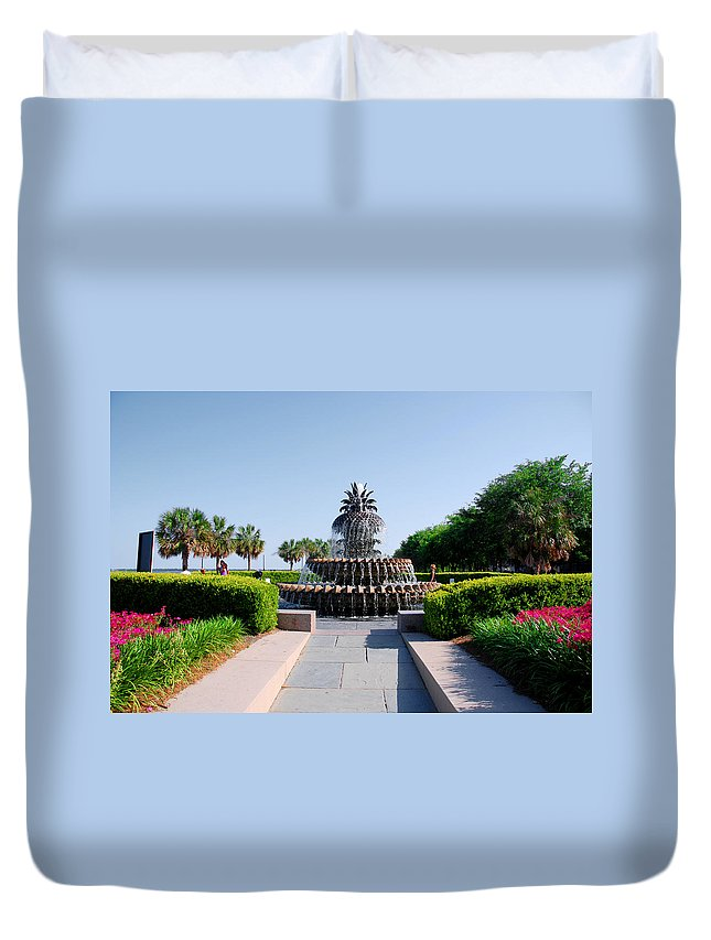 Photography Duvet Cover featuring the photograph Pineapple Fountain In Charleston by Susanne Van Hulst