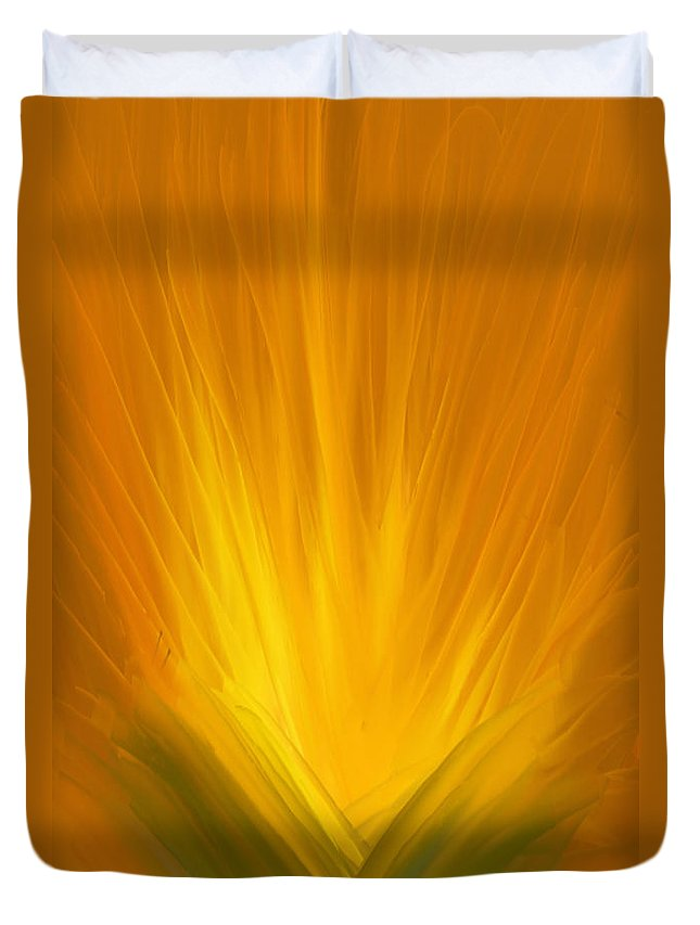 Abstract Duvet Cover featuring the painting Pineapple by Gina Lee Manley