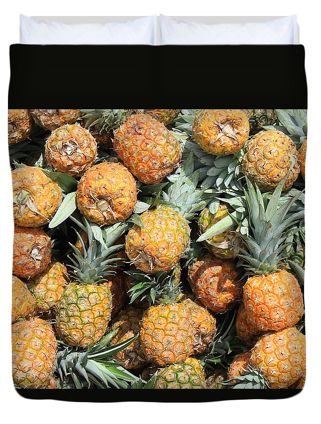 Pineapple Duvet Cover featuring the photograph Pineapples by Robert Hamm