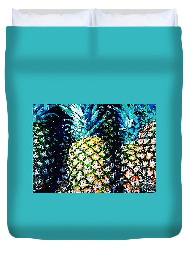 Pineapple Duvet Cover featuring the photograph Pineapples by Sarah Loft