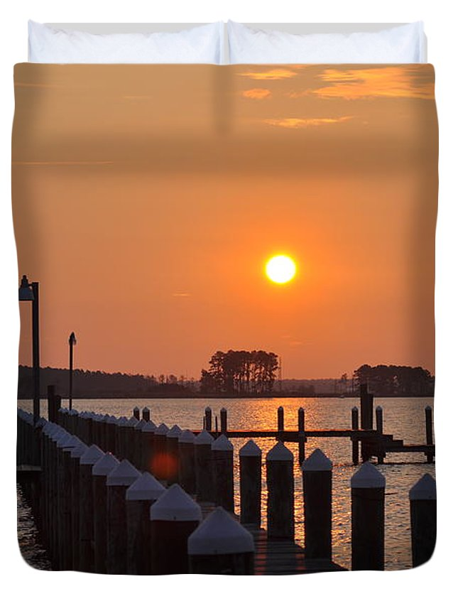 Piney Point Duvet Cover featuring the photograph Piney Point Sunrise by Bill Cannon