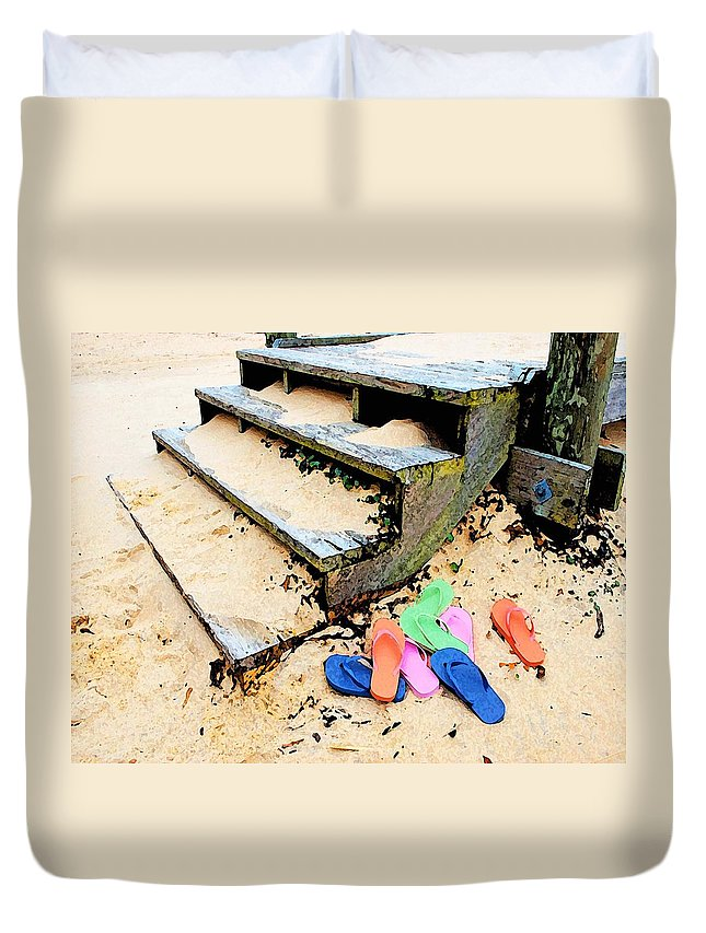 Alabama Pelican Duvet Cover featuring the digital art Pink And Blue Flip Flops By The Steps by Michael Thomas
