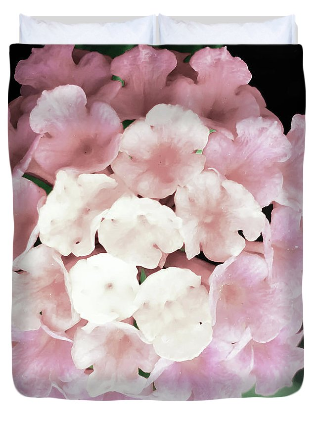 Pink Duvet Cover featuring the photograph Pink And Green Blossoms by Heather Joyce Morrill