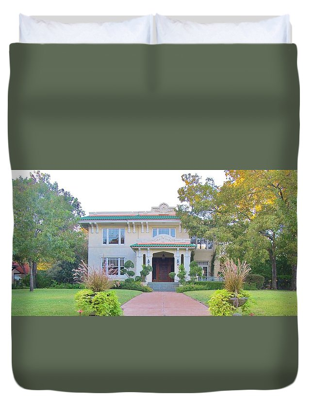 Swiss Avenue Mansions Duvet Cover featuring the painting Pink And Green Mansion by Donna Wilson