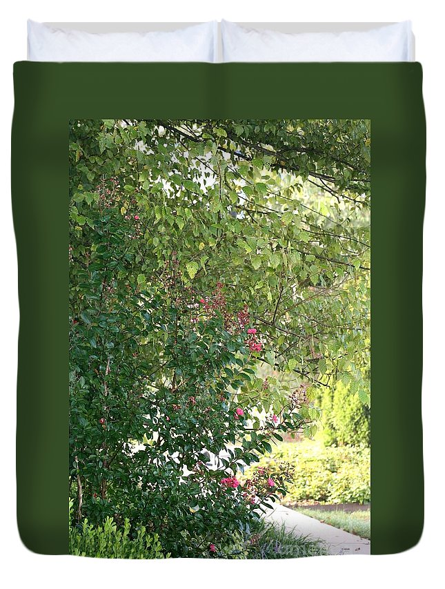 Path Duvet Cover featuring the photograph Pink And Green Path by Nadine Rippelmeyer
